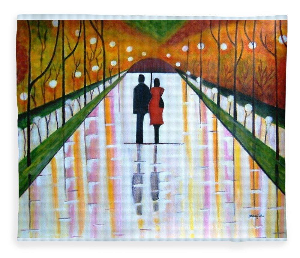 Romantic Painting Figures Romance Umbrella Rain Green Red Orange Grass People Lights Park Garden Tree Reflection Path Valentine Love Fleece Blanket featuring the painting A Rainy Dayii by Manjiri Kanvinde