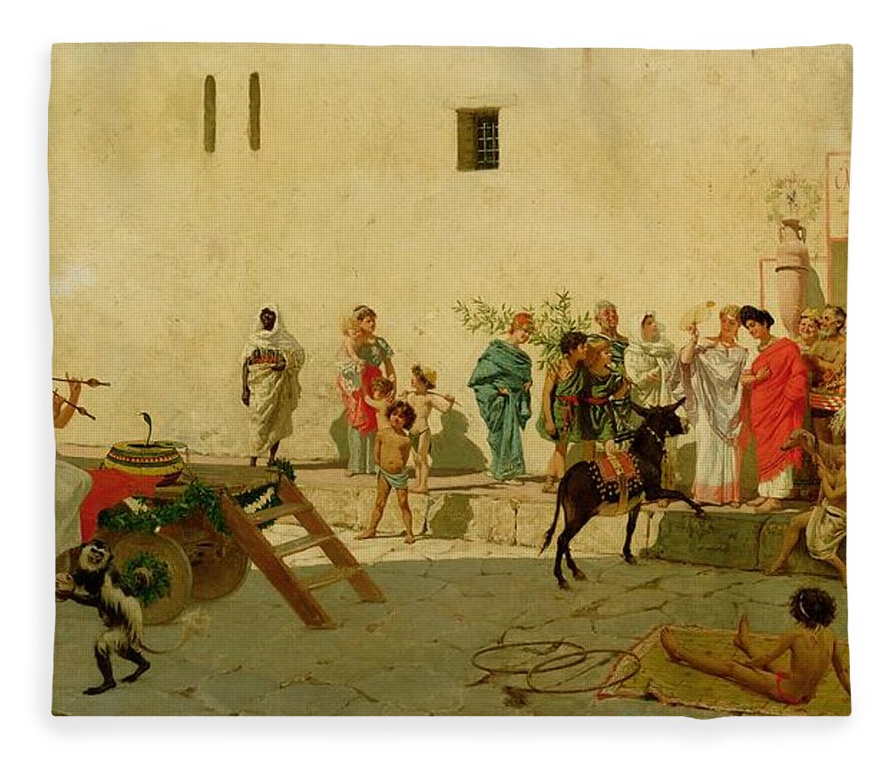 A Roman Street Scene With Musicians And A Performing Monkey Fleece ...