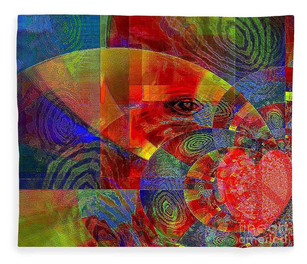 Fania Simon Fleece Blanket featuring the mixed media A Special Kind Of Love by Fania Simon
