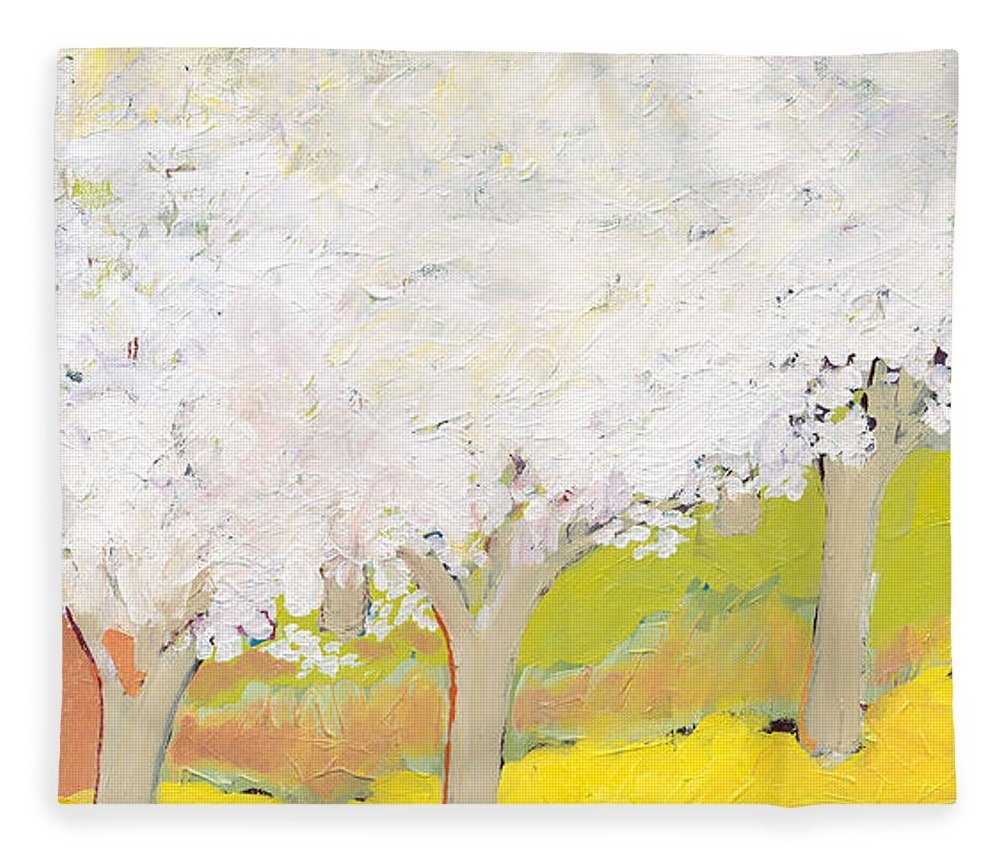 Landscape Fleece Blanket featuring the painting A Valley In Bloom by Jennifer Lommers