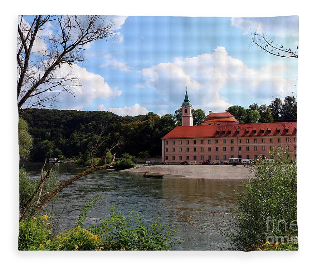 Abbey Fleece Blanket featuring the photograph Abbey Weltenburg And Danube River by Christiane Schulze Art And Photography