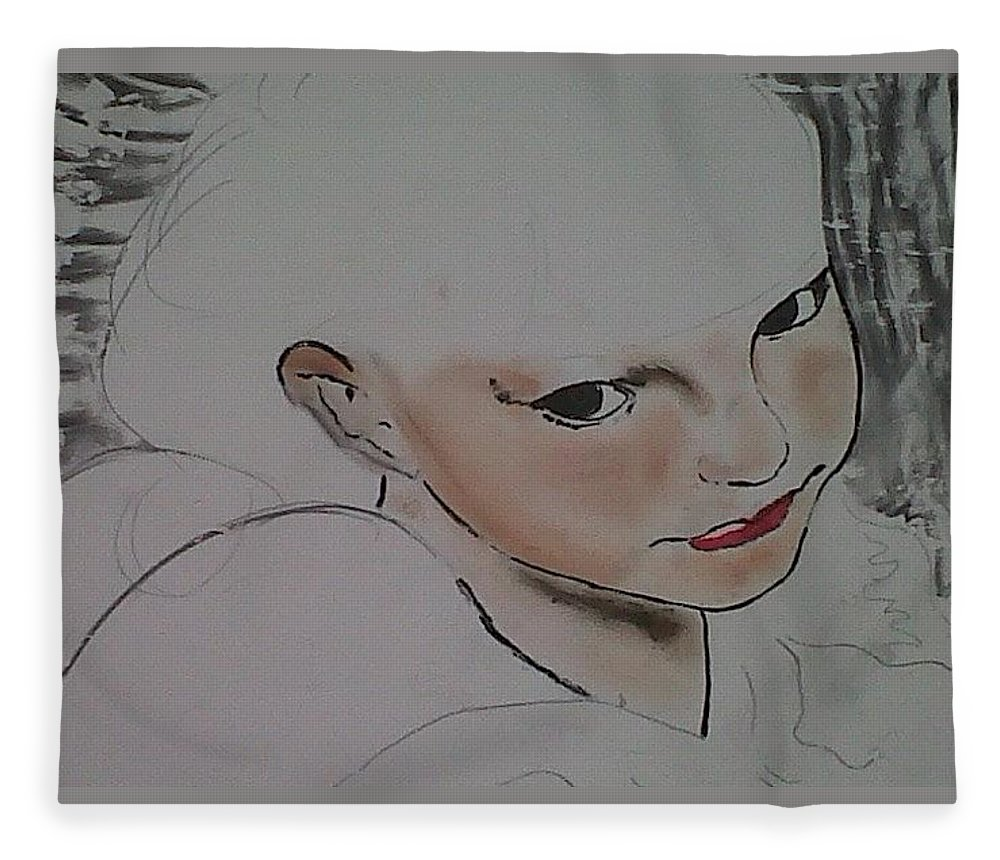 Angel Fleece Blanket featuring the drawing Abby's flowers unfinished by J Bauer