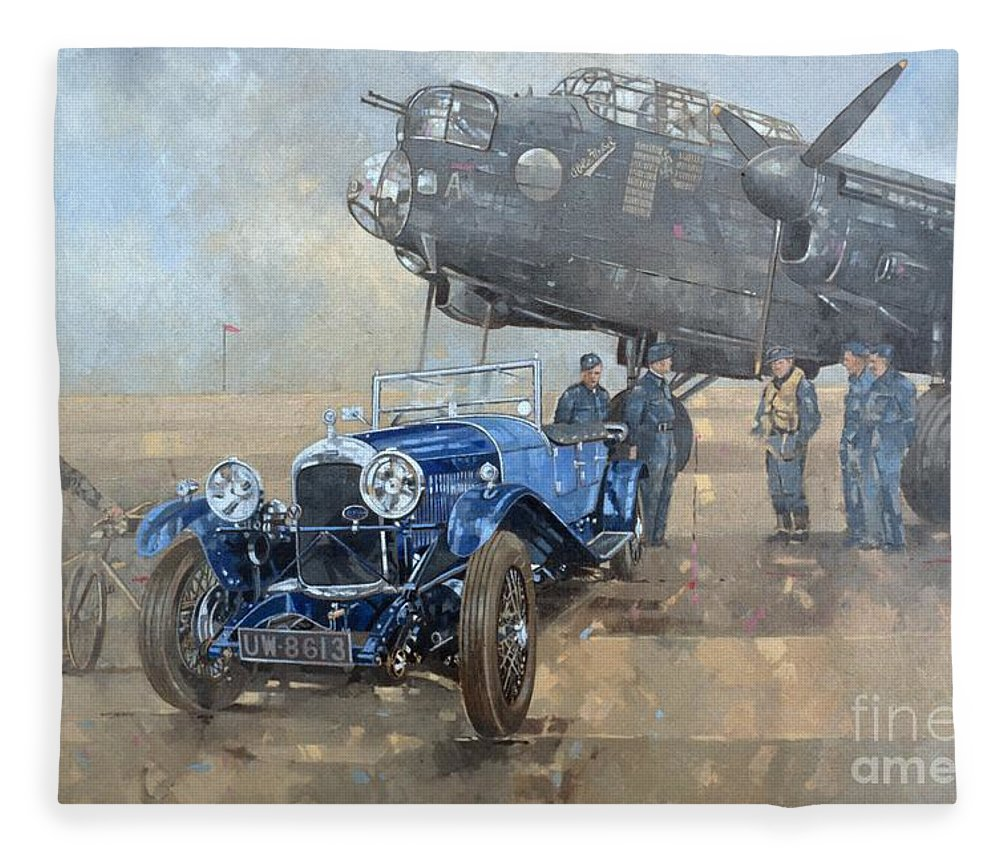 Car; Vehicle; Airplane; Aeroplane; Plane; Military; Air Force; Vintage; Classic Cars; Vintage Car; Nostalgia; Nostalgic; Blue Lagonda Fleece Blanket featuring the painting Able Mable And The Blue Lagonda by Peter Miller