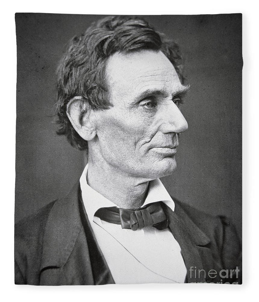 Abraham Lincoln (1809-65) 1860 (b/w Photo) By Alexander Hesler (1823-95) Fleece Blanket featuring the photograph Abraham Lincoln by Alexander Hesler