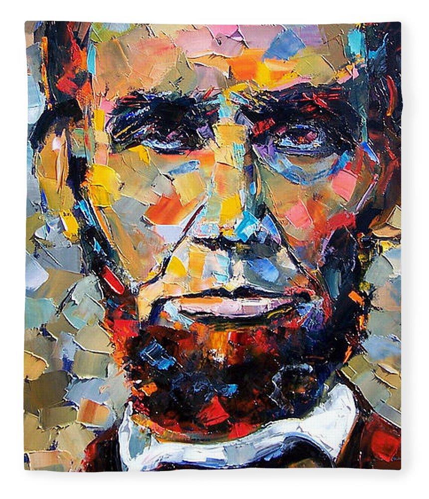 President Fleece Blanket featuring the painting Abraham Lincoln portrait by Debra Hurd
