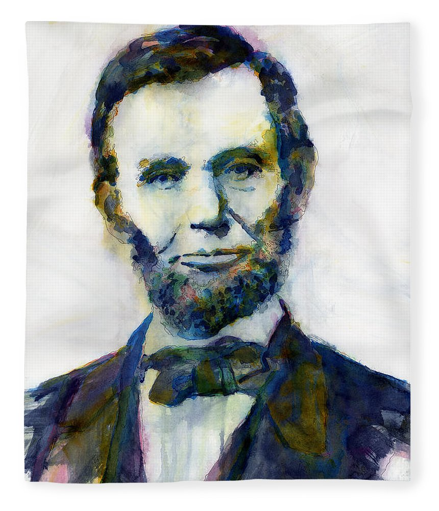 Abraham Fleece Blanket featuring the painting Abraham Lincoln Portrait Study 2 by Hailey E Herrera
