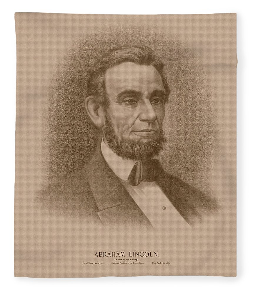 Abraham Lincoln Fleece Blanket featuring the drawing Abraham Lincoln - Savior Of His Country by War Is Hell Store