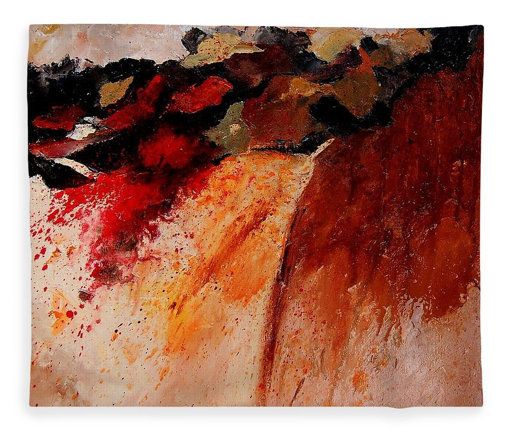 Abstract Fleece Blanket featuring the painting Abstract 010607 by Pol Ledent