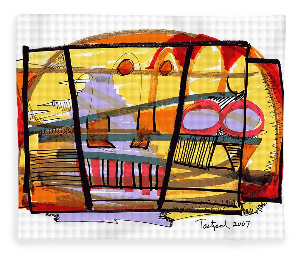 Abstract Fleece Blanket featuring the drawing Abstract Drawing Sixty-seven by Lynne Taetzsch