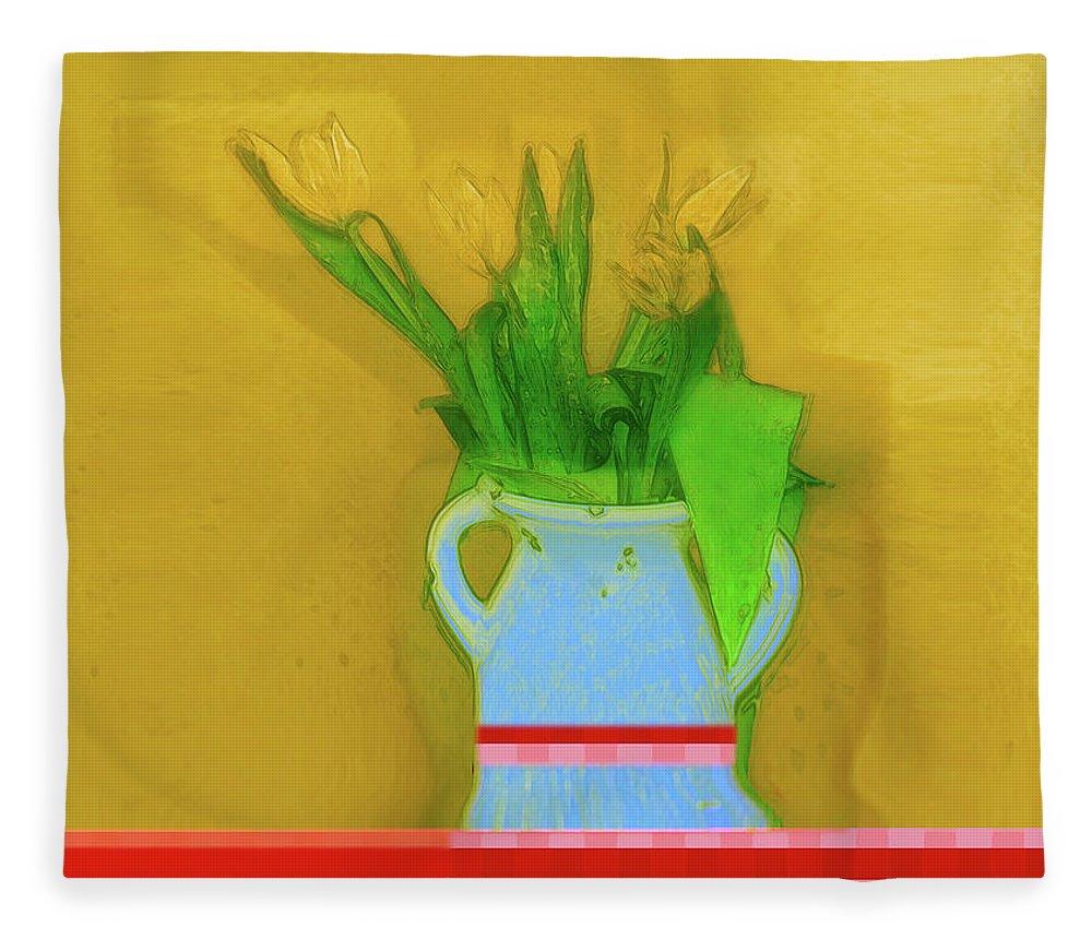 Art Fleece Blanket featuring the digital art Abstract Floral Art 323 by Miss Pet Sitter