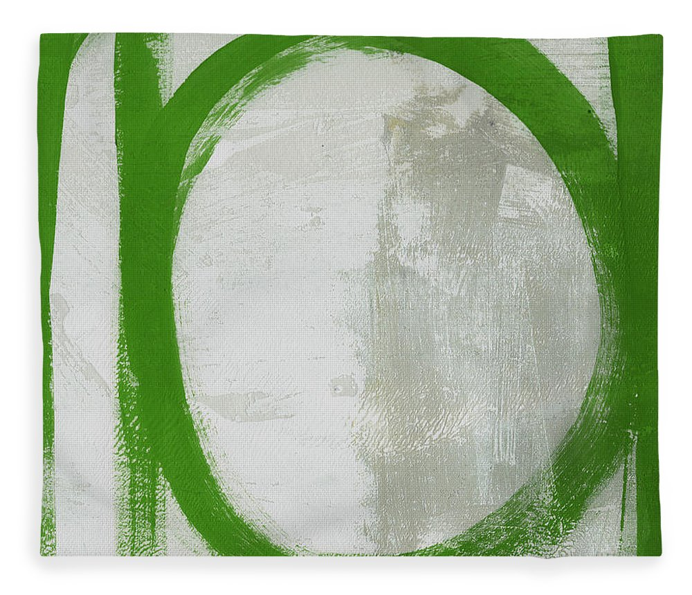 Abstract Fleece Blanket featuring the painting Abstract Green Circle 2- Art By Linda Woods by Linda Woods