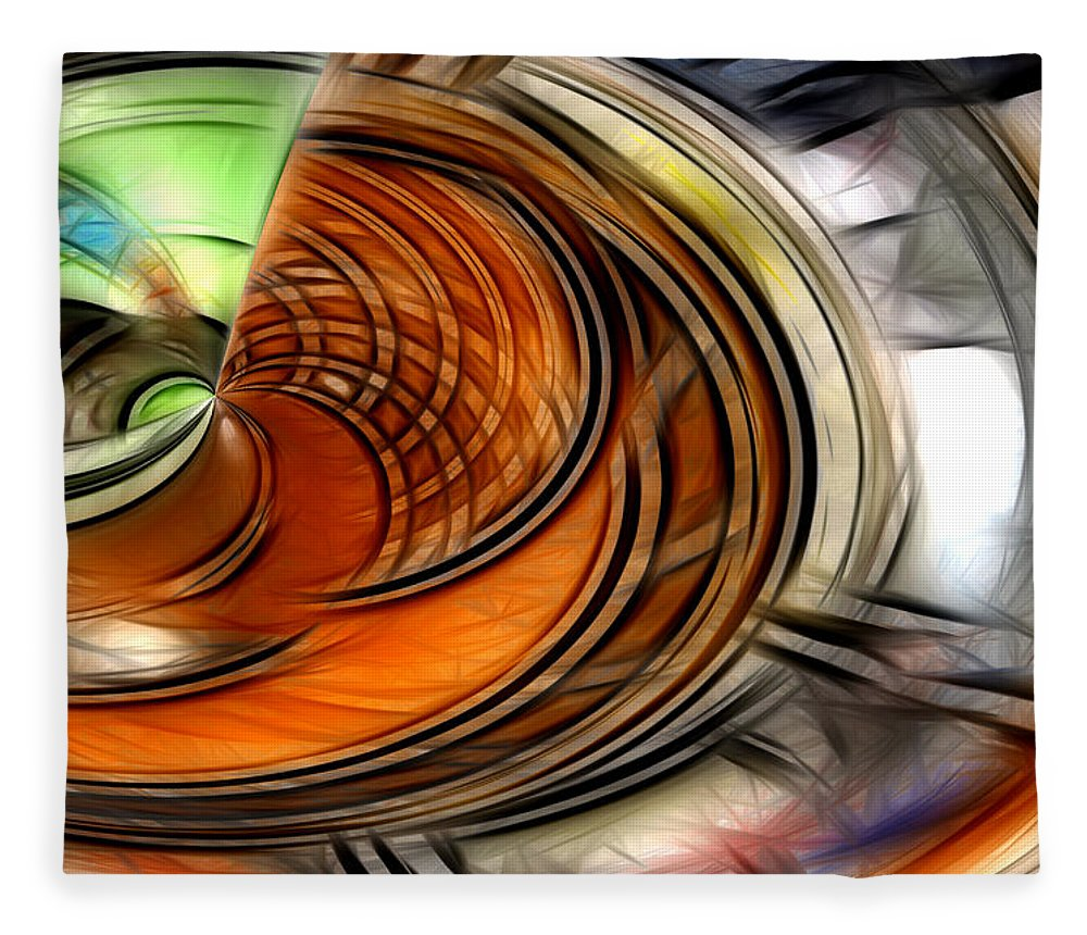 Abstract Green Yellow Orange White Blue Fleece Blanket featuring the digital art Abstract by Galeria Trompiz