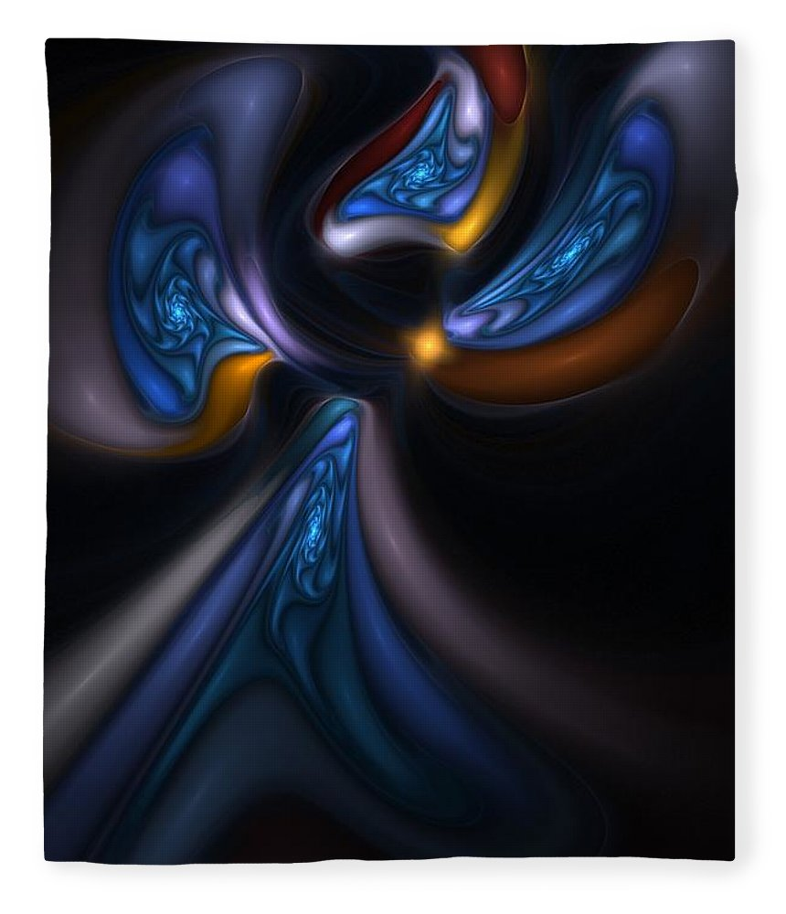 Digital Painting Fleece Blanket featuring the digital art Abstract Stained Glass Angel by David Lane
