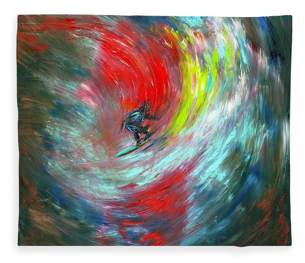 Surfer Fleece Blanket featuring the painting Abstract Surfer by Paul Emig