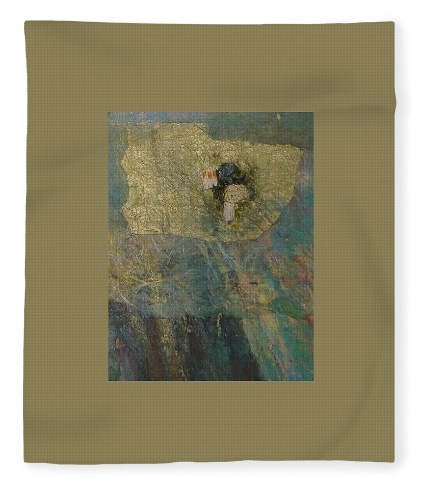 Abstract Fleece Blanket featuring the mixed media Abstract Two by Pat Snook