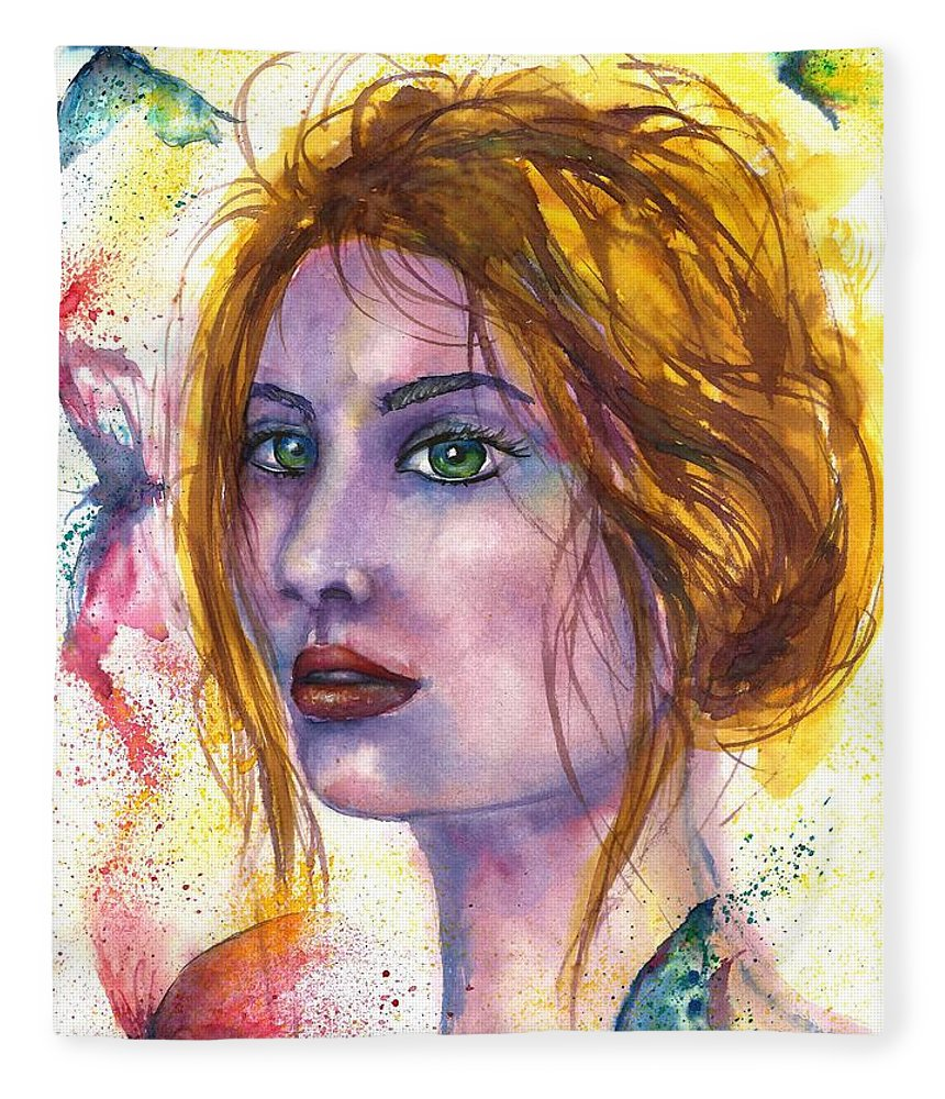 Women Face Fleece Blanket featuring the painting Abstract women face by Natalja Picugina