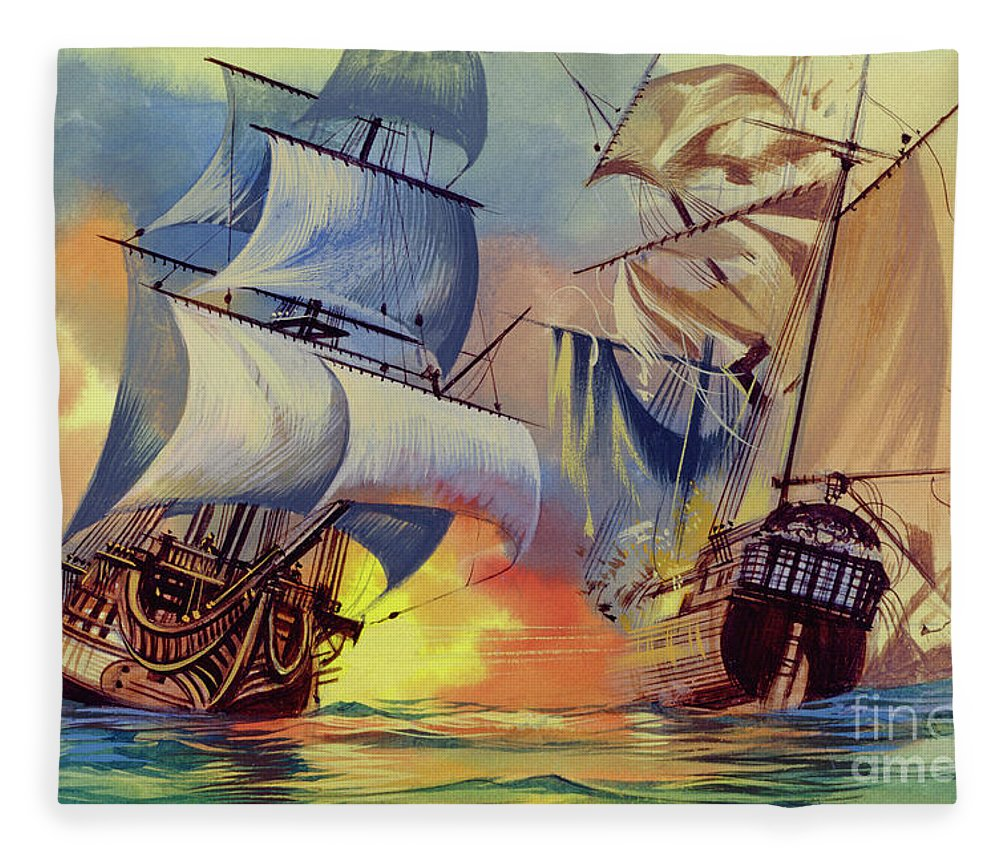History Fleece Blanket featuring the painting Admiral Hood's Fleet In The West Indies by Ron Embleton