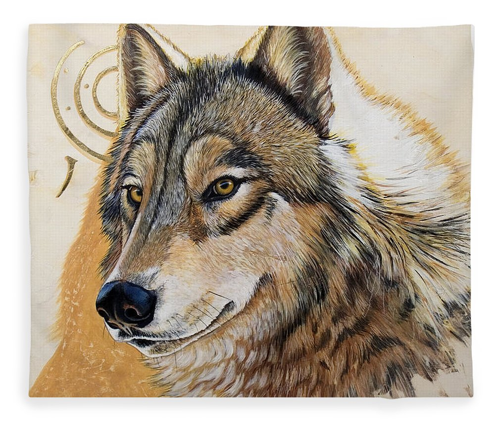 Acrylics Fleece Blanket featuring the painting Adobe Gold by Sandi Baker