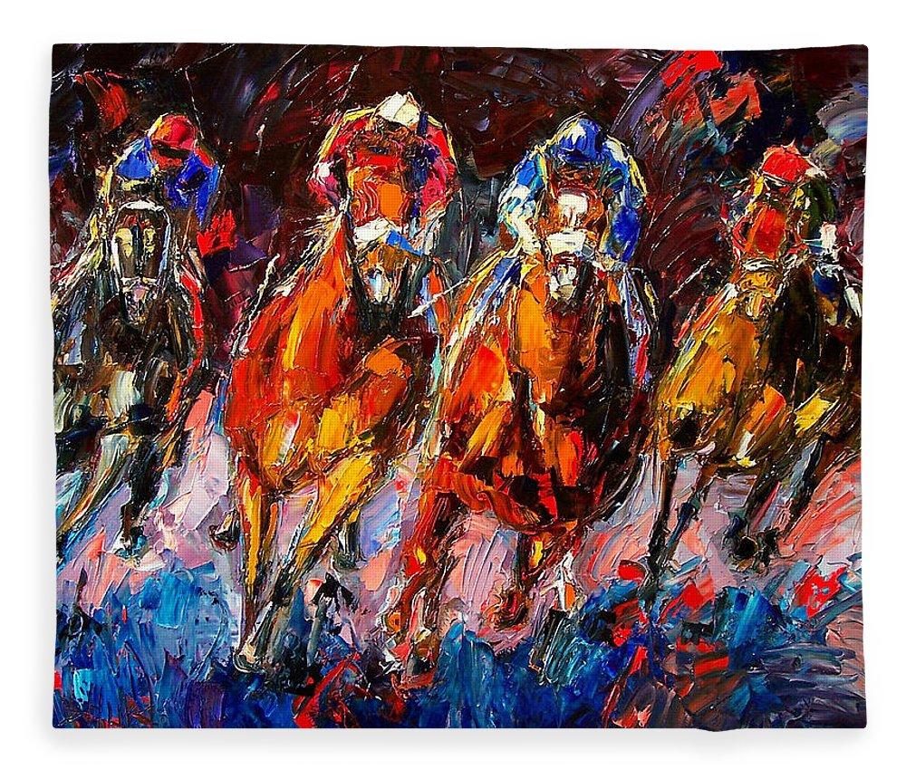Horse Race Fleece Blanket featuring the painting Adrenaline by Debra Hurd