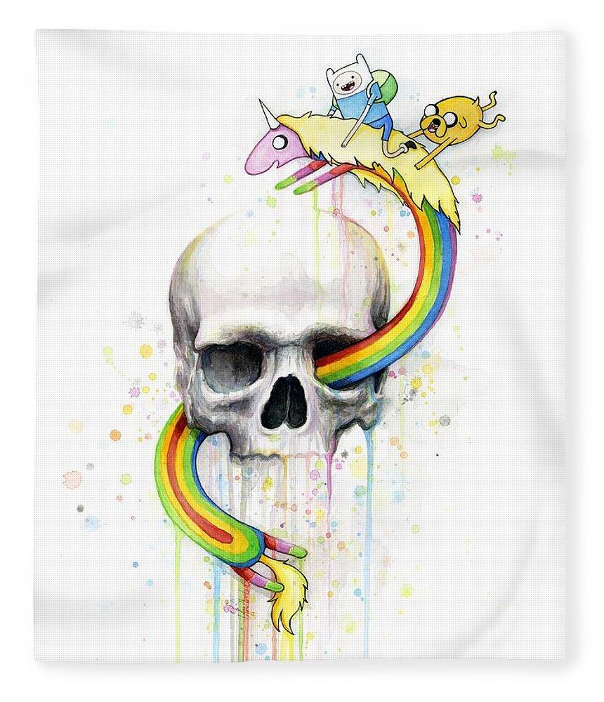 Adventure Fleece Blanket featuring the painting Adventure Time Skull Jake Finn Lady Rainicorn Watercolor by Olga Shvartsur
