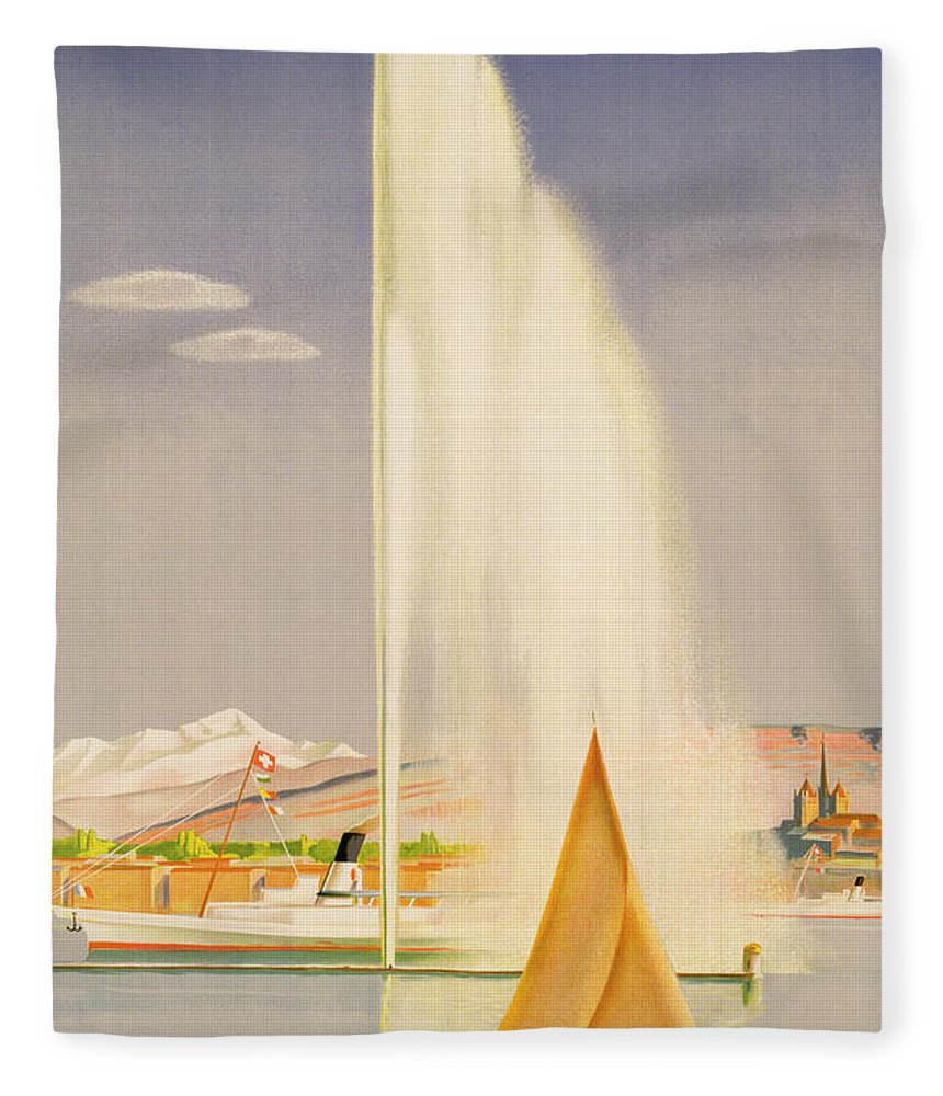 Advertisement For Travel To Geneva Fleece Blanket featuring the painting Advertisement For Travel To Geneva by Fehr