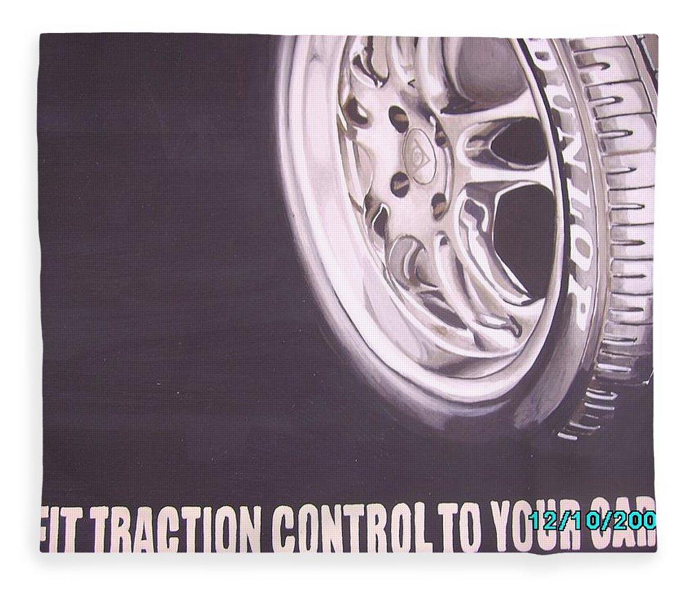 Wheel Fleece Blanket featuring the digital art Adverts On Tyres by Olaoluwa Smith