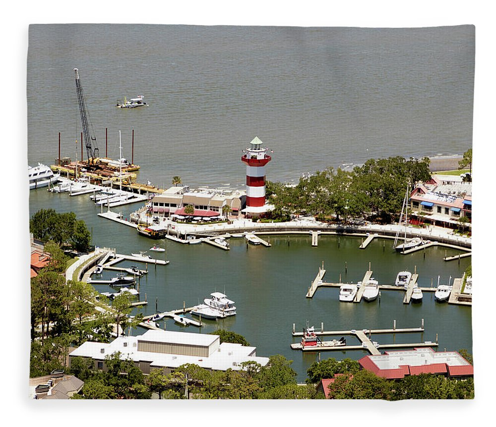 Aerial View Harbour Town Lighthouse In Hilton Head Island Fleece Blanket featuring the photograph Aerial View Harbour Town Lighthouse In Hilton Head Island by Carol Highsmith