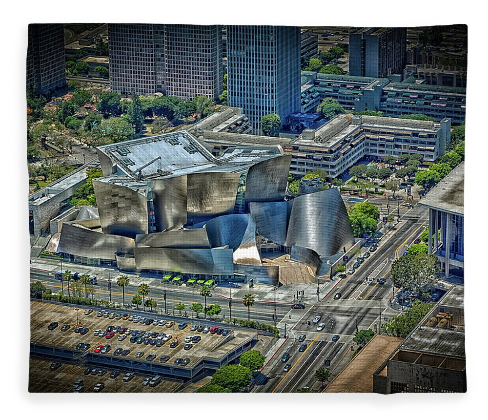 Los Angeles Fleece Blanket featuring the photograph Aerial View Of The Walt Disney Concert Hall by Mountain Dreams