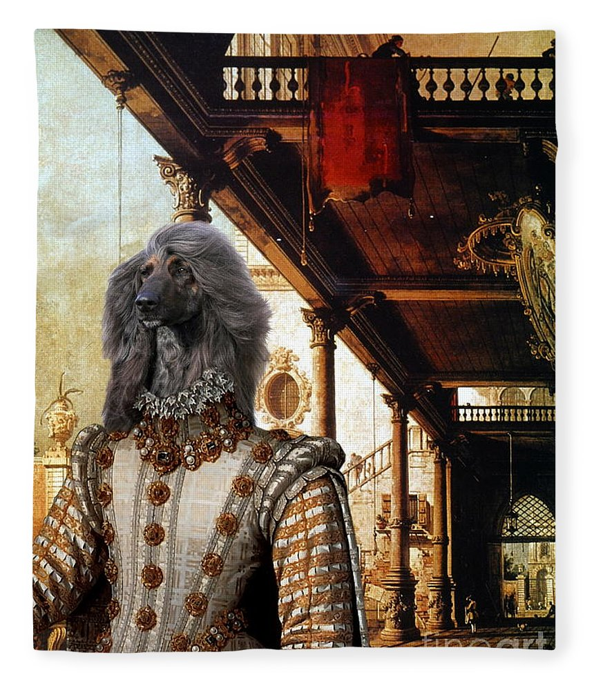 Afghan Hound Canvas Fleece Blanket featuring the painting Afghan Hound-capriccio Of Colonade And The Courtyard Of A Palace Canvas Fine Art Print by Sandra Sij