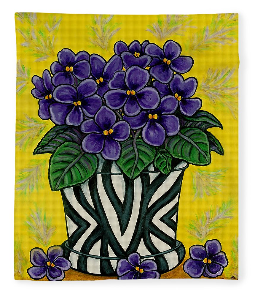 Violets Fleece Blanket featuring the painting African Queen by Lisa Lorenz