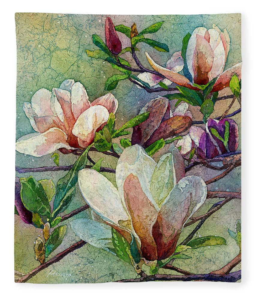 Magnolia Fleece Blanket featuring the painting After A Fresh Rain by Hailey E Herrera