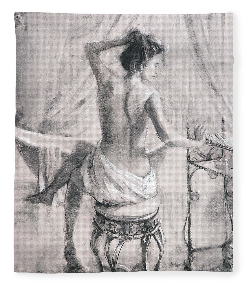 Bath Fleece Blanket featuring the painting After the Bath by Steve Henderson