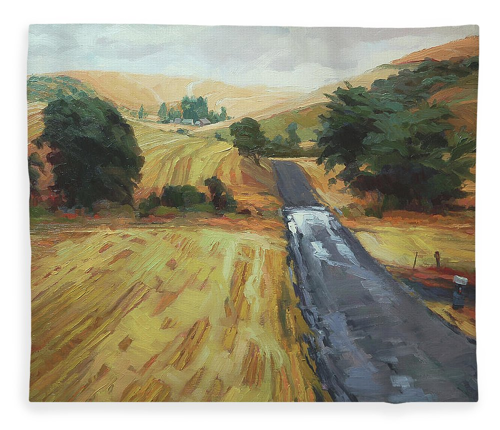 Country Fleece Blanket featuring the painting After The Harvest Rain by Steve Henderson