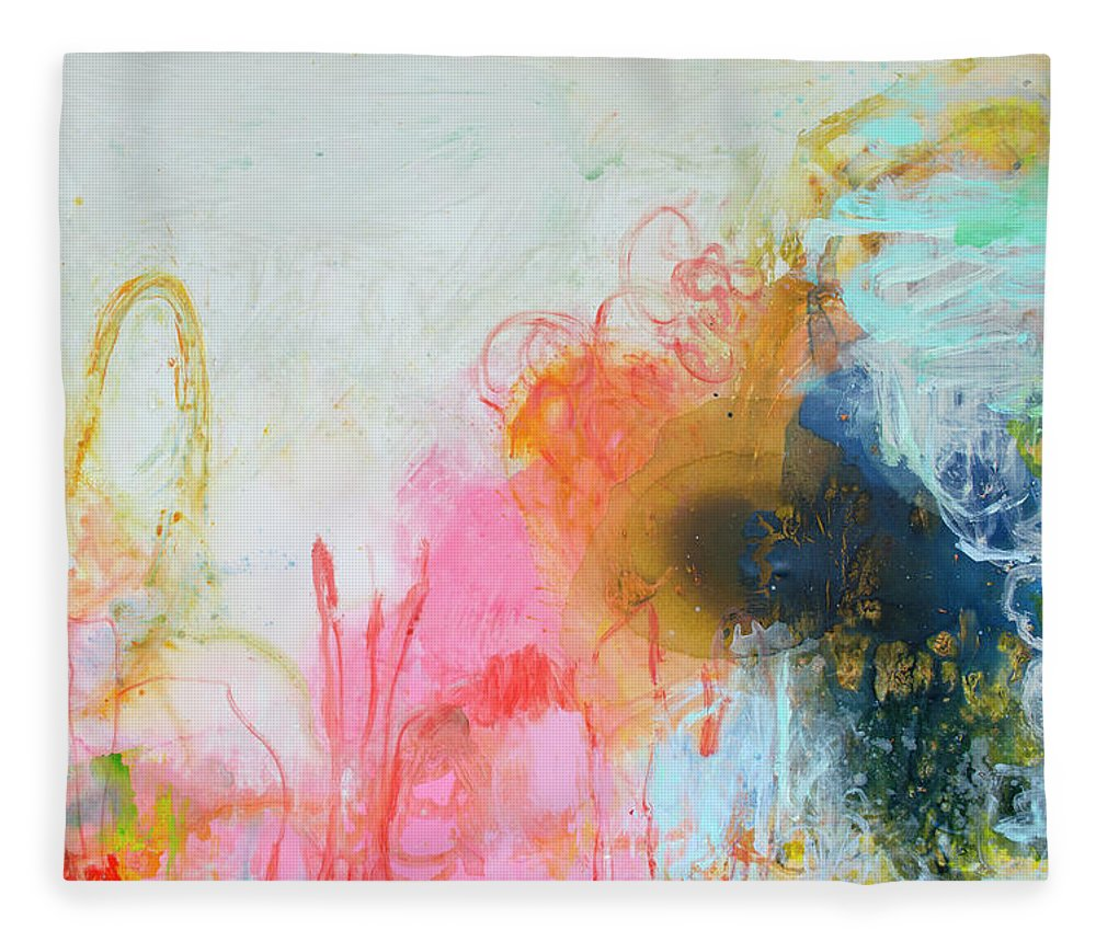 Abstract Fleece Blanket featuring the painting Afternoon Snooze by Claire Desjardins