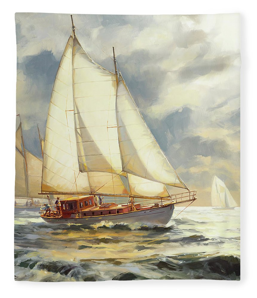 Sailboat Fleece Blanket featuring the painting Ahead Of The Storm by Steve Henderson