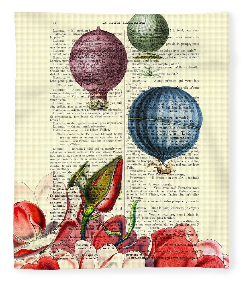 Hot Air Balloon Fleece Blanket featuring the digital art Hot Air Balloons Above Flower Field by Madame Memento