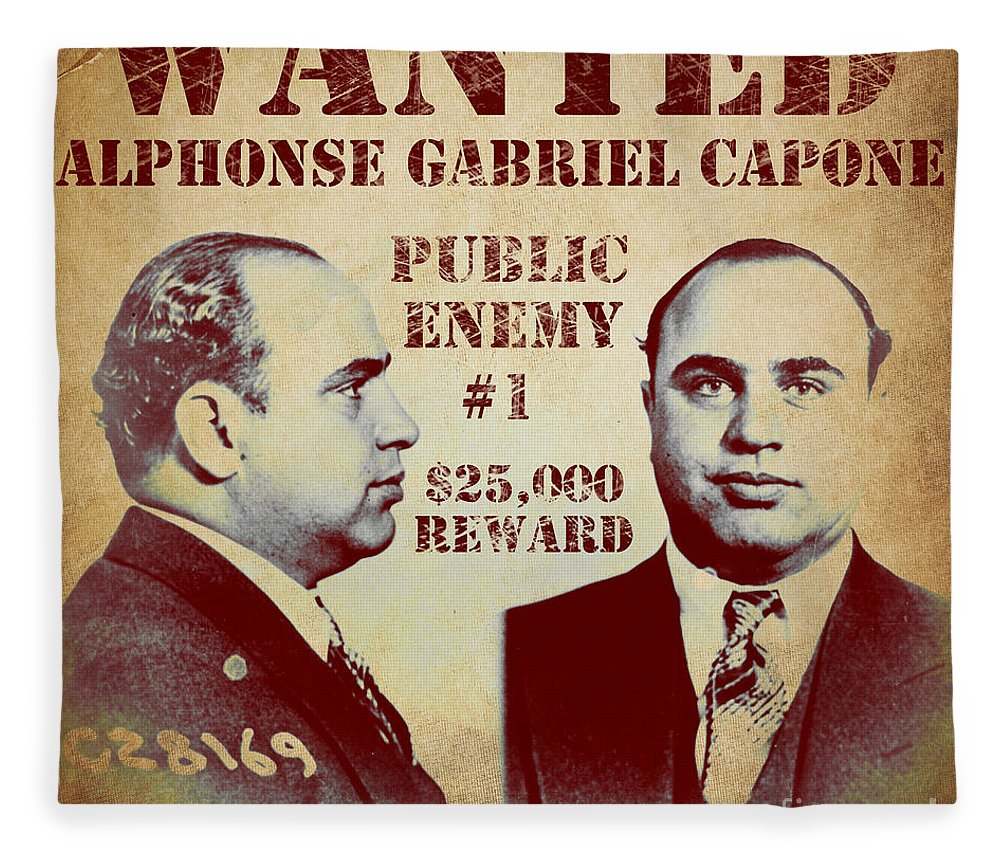 public enemy fleece blanket featuring the painting al capone most wanted poster by mindy sommers