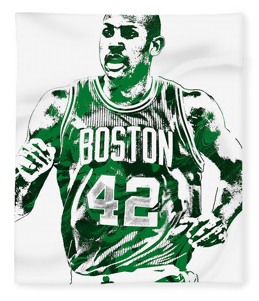 Al Horford Fleece Blanket featuring the mixed media Al Horford Boston Celtics Pixel Art by Joe Hamilton