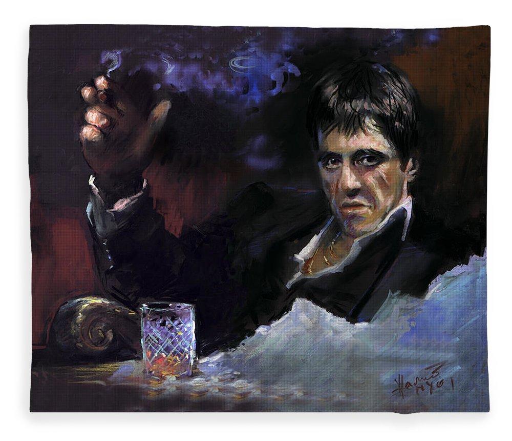 Al Pacino Fleece Blanket featuring the pastel AL Pacino snow by Ylli Haruni
