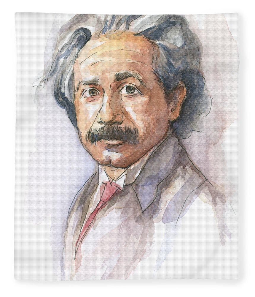 Albert Einstein Fleece Blanket featuring the painting Albert Einstein by Olga Shvartsur