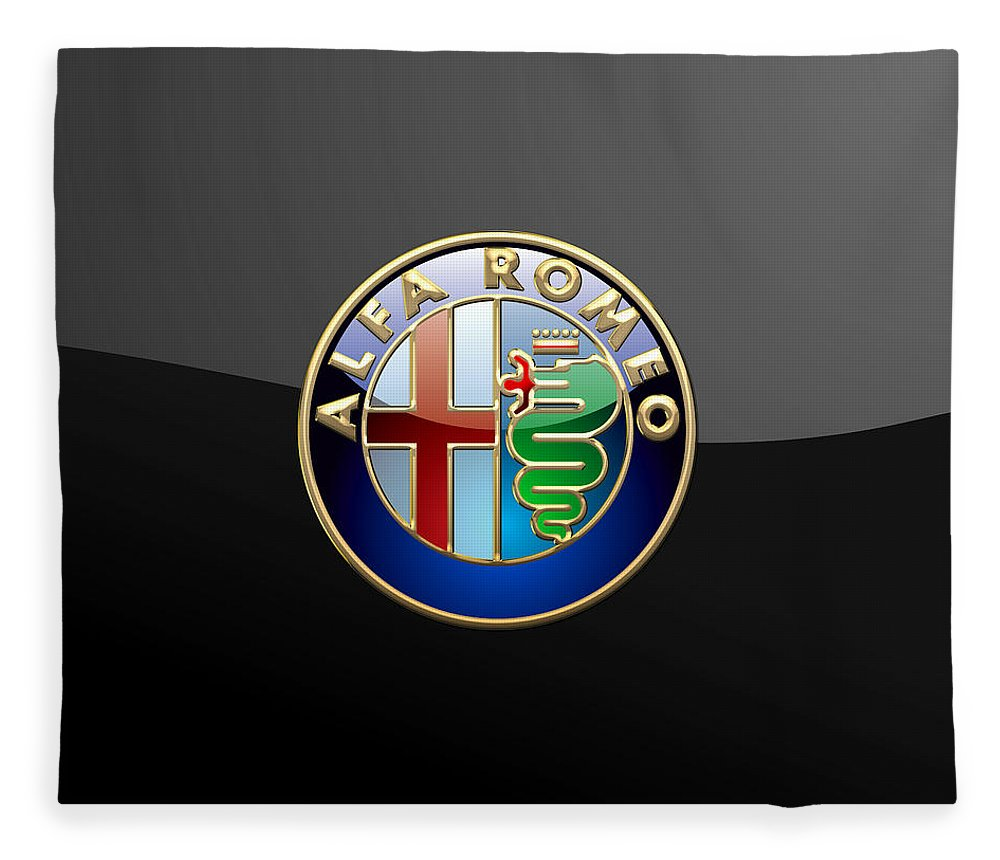 Wheels Of Fortune� Collection By Serge Averbukh Fleece Blanket featuring the photograph Alfa Romeo - 3 D Badge On Black by Serge Averbukh