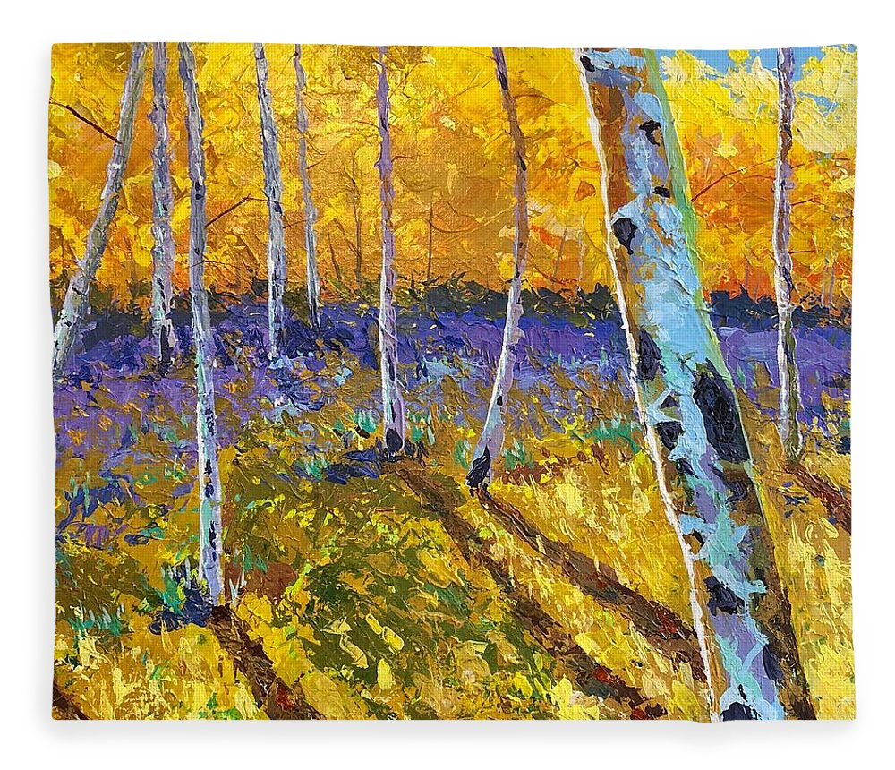 Aspen Fleece Blanket featuring the painting All In The Golden Afternoon by Hunter Jay