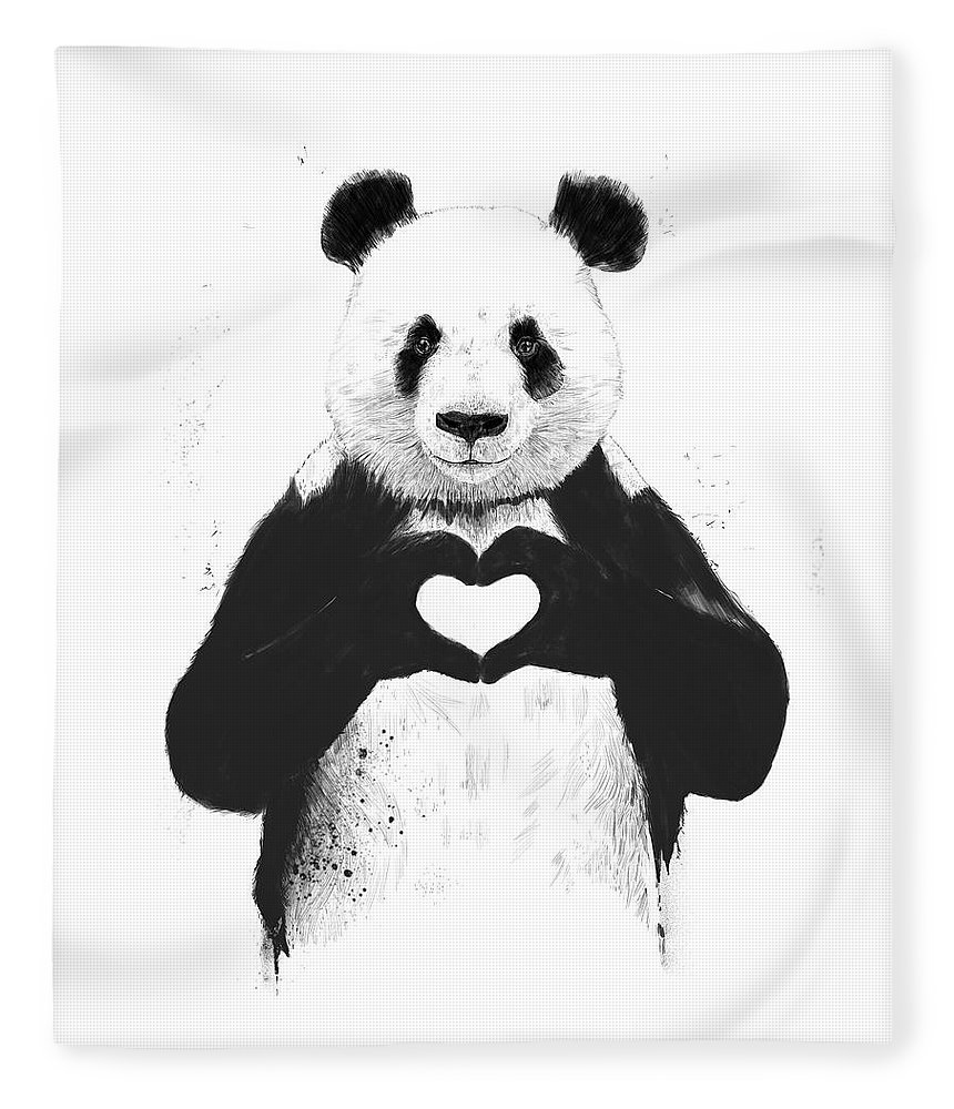 Panda Fleece Blanket featuring the mixed media All you need is love by Balazs Solti