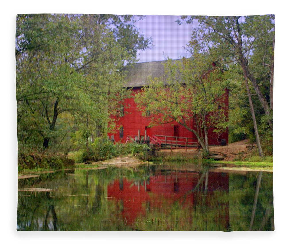 Alley Spring Fleece Blanket featuring the photograph Allsy Sprng Mill 2 by Marty Koch
