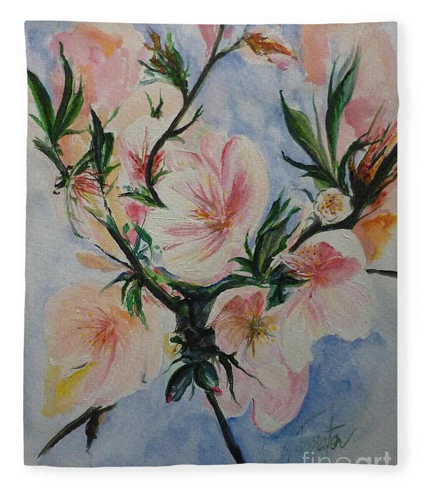 Flowers Fleece Blanket featuring the painting Almond Blossom by Lizzy Forrester