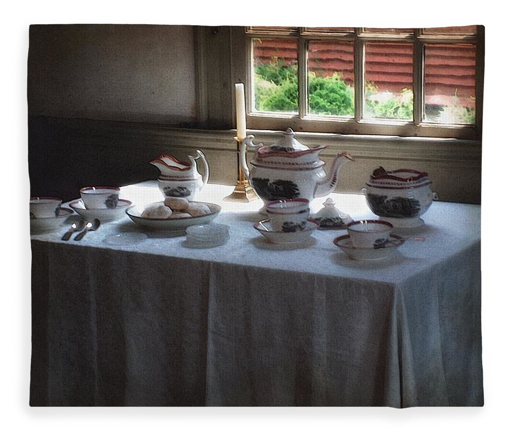 Americana Fleece Blanket featuring the painting Almost Tea Time by RC DeWinter