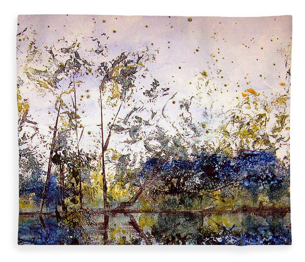 Abstract Fleece Blanket featuring the painting Along The River Bank by Ruth Palmer