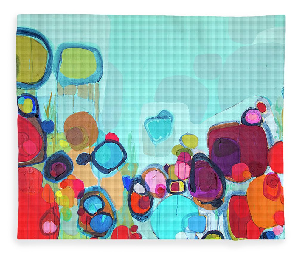 Abstract Fleece Blanket featuring the painting Always Will Be by Claire Desjardins