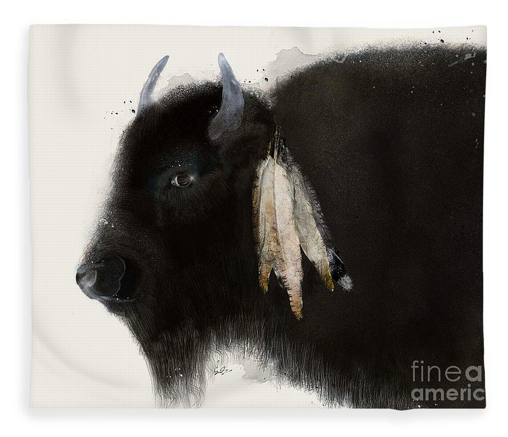 Buffalo Fleece Blanket featuring the painting American Buffalo by Bri Buckley