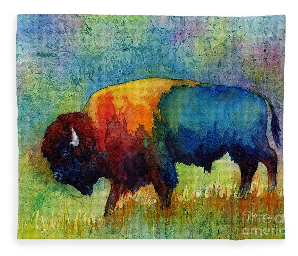 Bison Fleece Blanket featuring the painting American Buffalo IIi by Hailey E Herrera